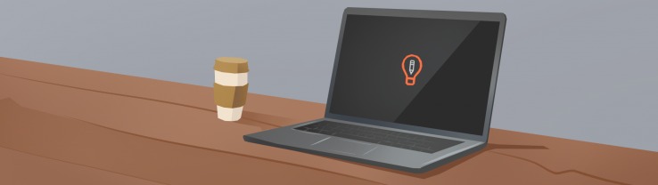 An illustration of a laptop with the Art Prompt logo, set on a table with a coffee cup.