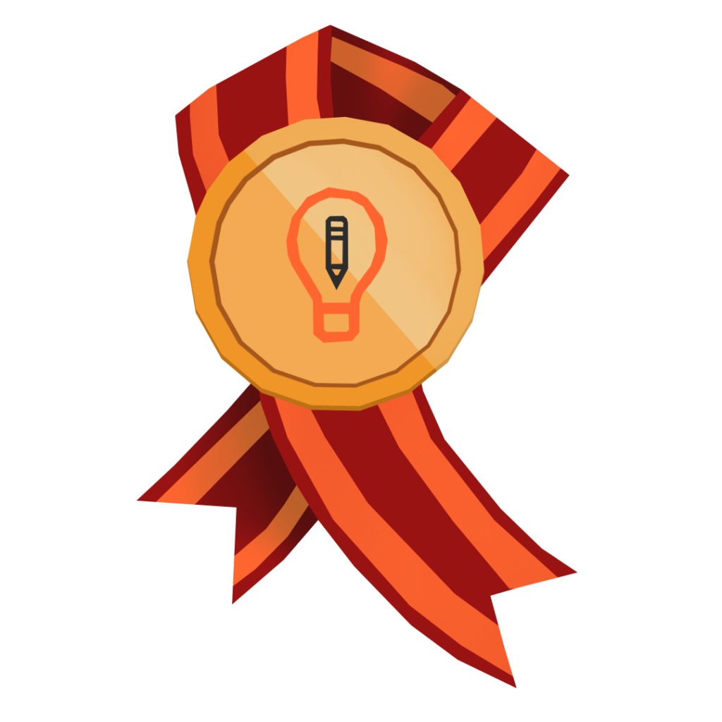 An illustration of the Art Prompts logo on an award.