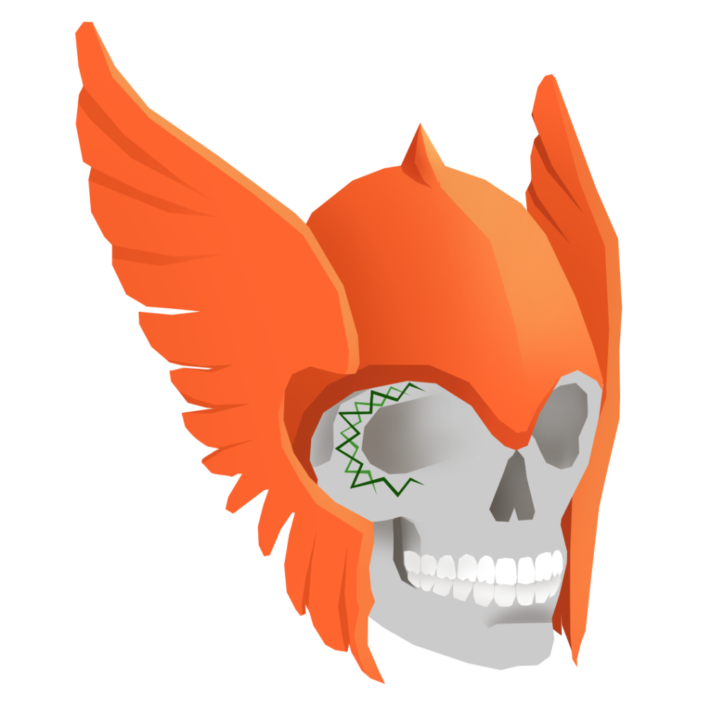 An illustration of a skull with green tattoos and an orange Viking helmet.