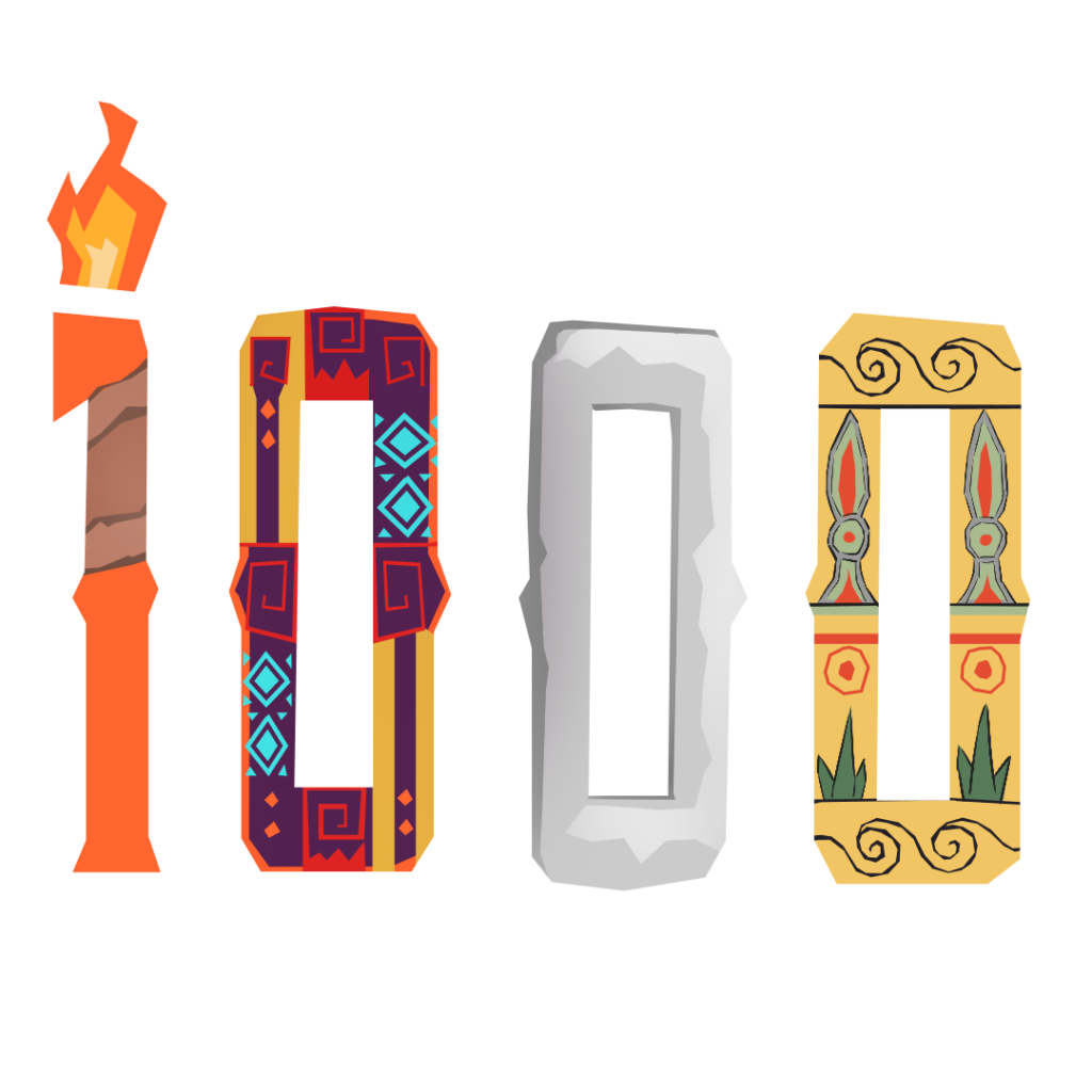 An illustration of the number 1000 in different styles, mimicking the variety in art prompts.