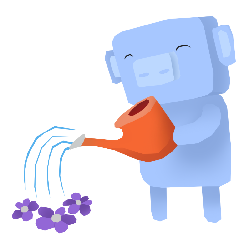 An illustration of Discord's mascot, Wumpus, cultivating a small garden.