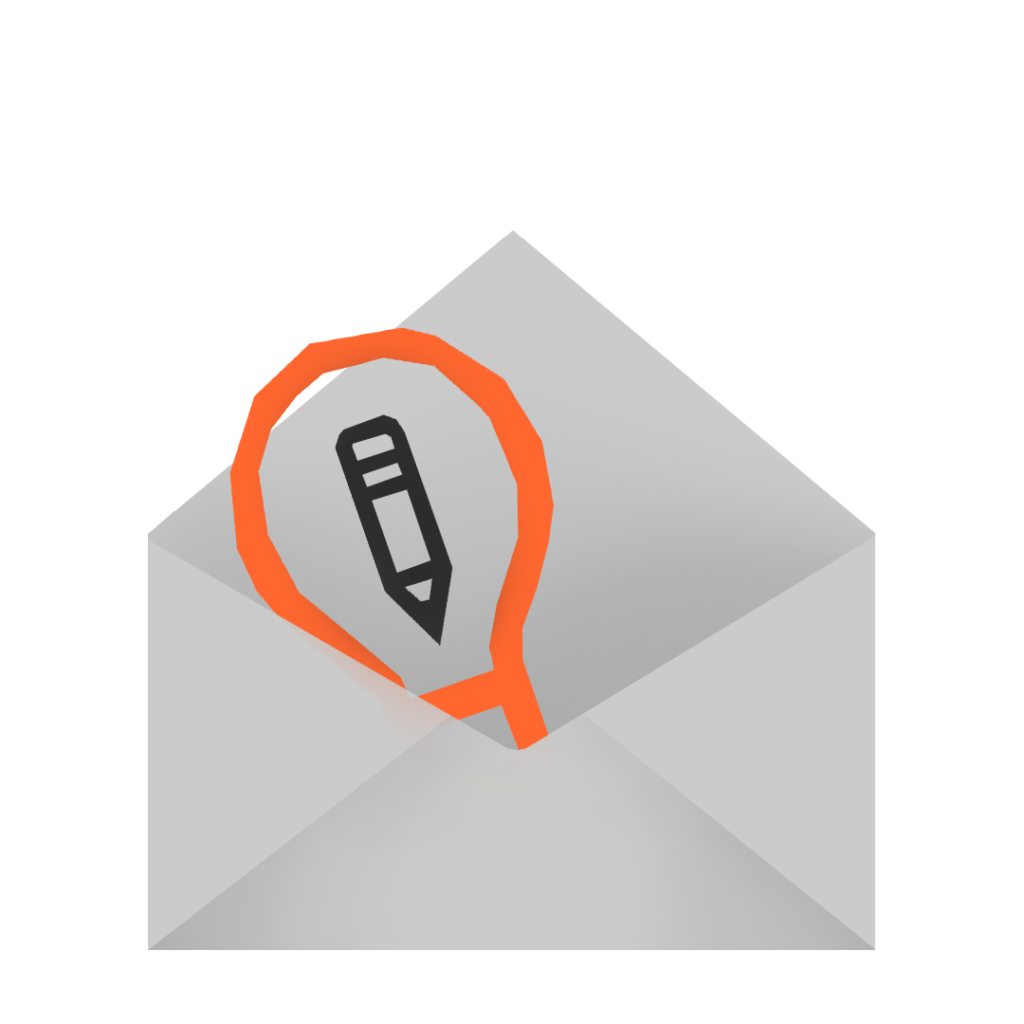 An illustration of an open envelope with the Art Prompts logo.