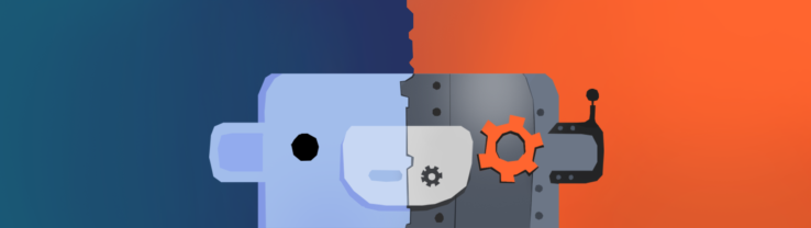 An illustration with Wumpus, the Discord mascot, with a mechanical half of its face.
