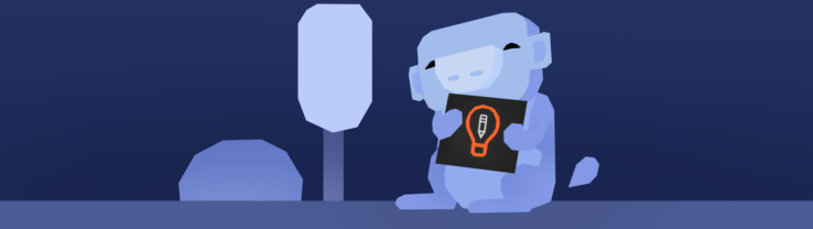 An illustration of Wumpus, the Discord mascot, holding the Art Prompts logo.