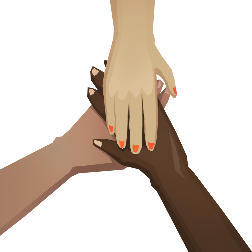 An illustration of three hands together, symbolizing a community.