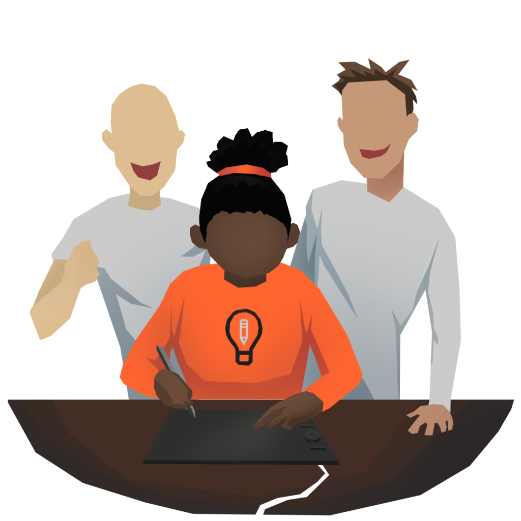 An illustration of a person drawing on a graphic tablet, with two other people behind them cheering them on.