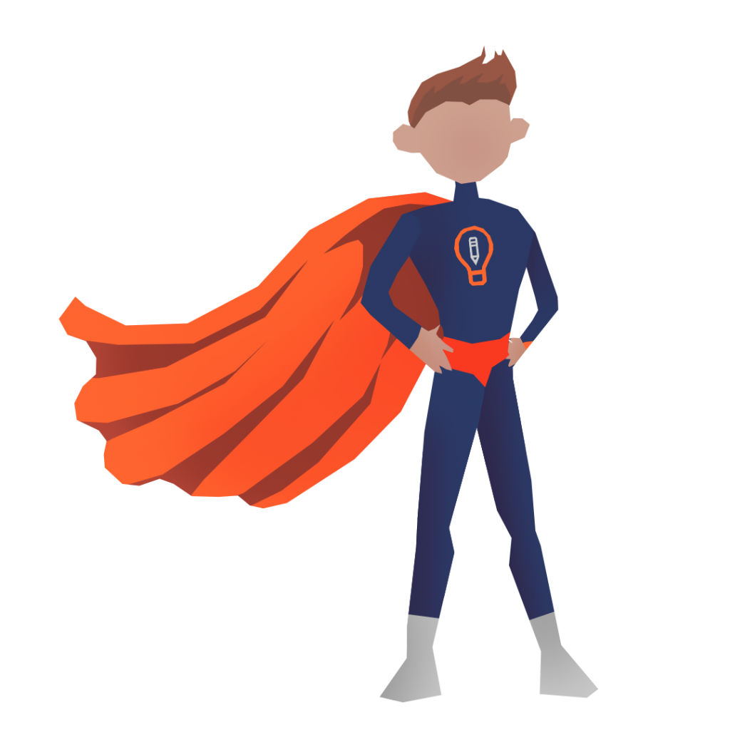 An illustration of a superhero with the Art Prompts logo on their chest.