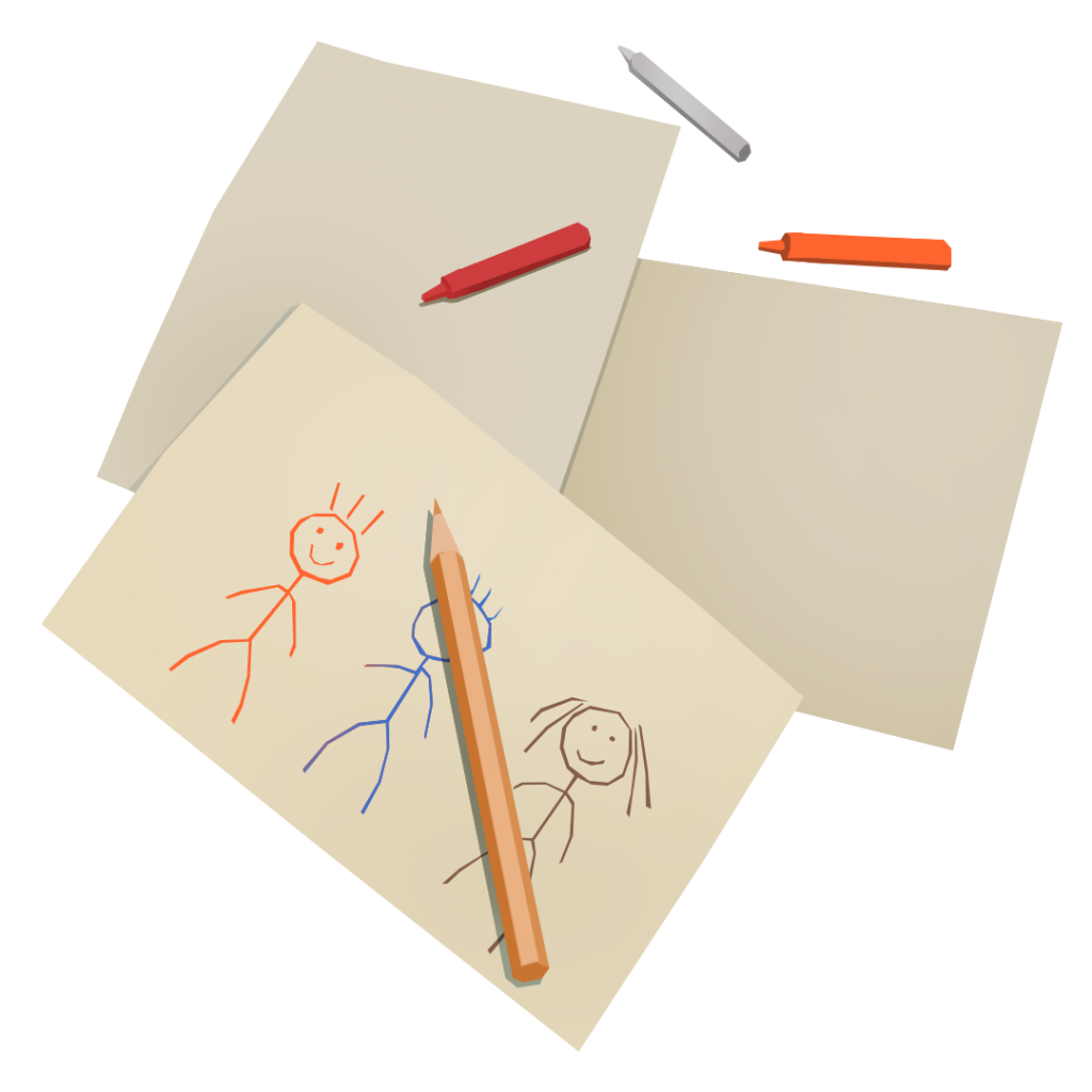 An illustration of several drawings of people on paper.