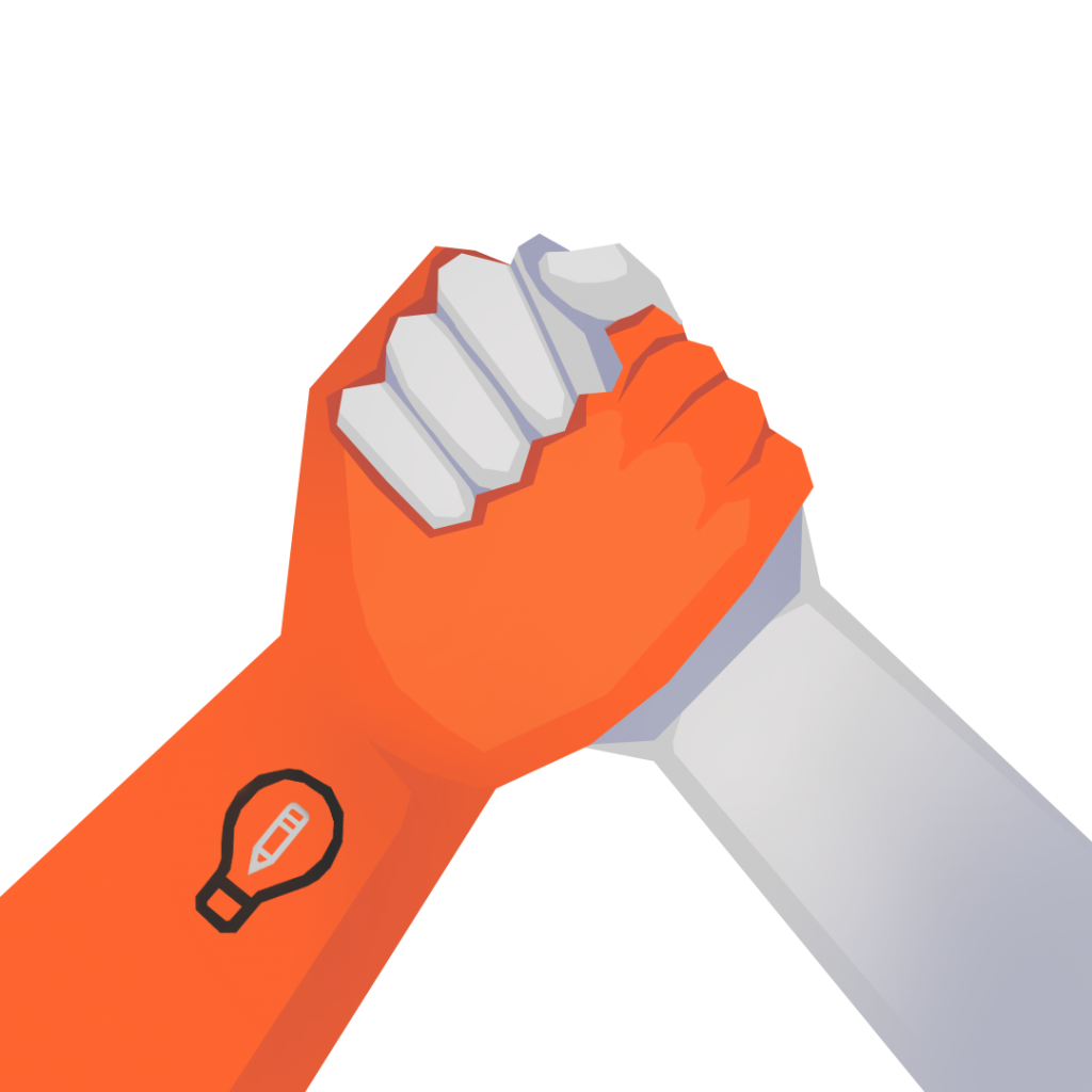 An illustrations of two holds holding each other, one with the Art Prompts logo, symbolizing showing direct support to Art Prompts.