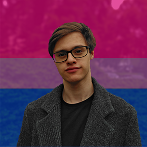 A portrait picture of Tadeas Jun with the bisexual flag in the background.